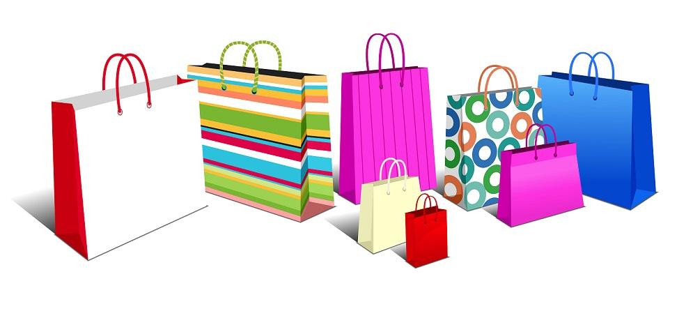 various printed carrier bags