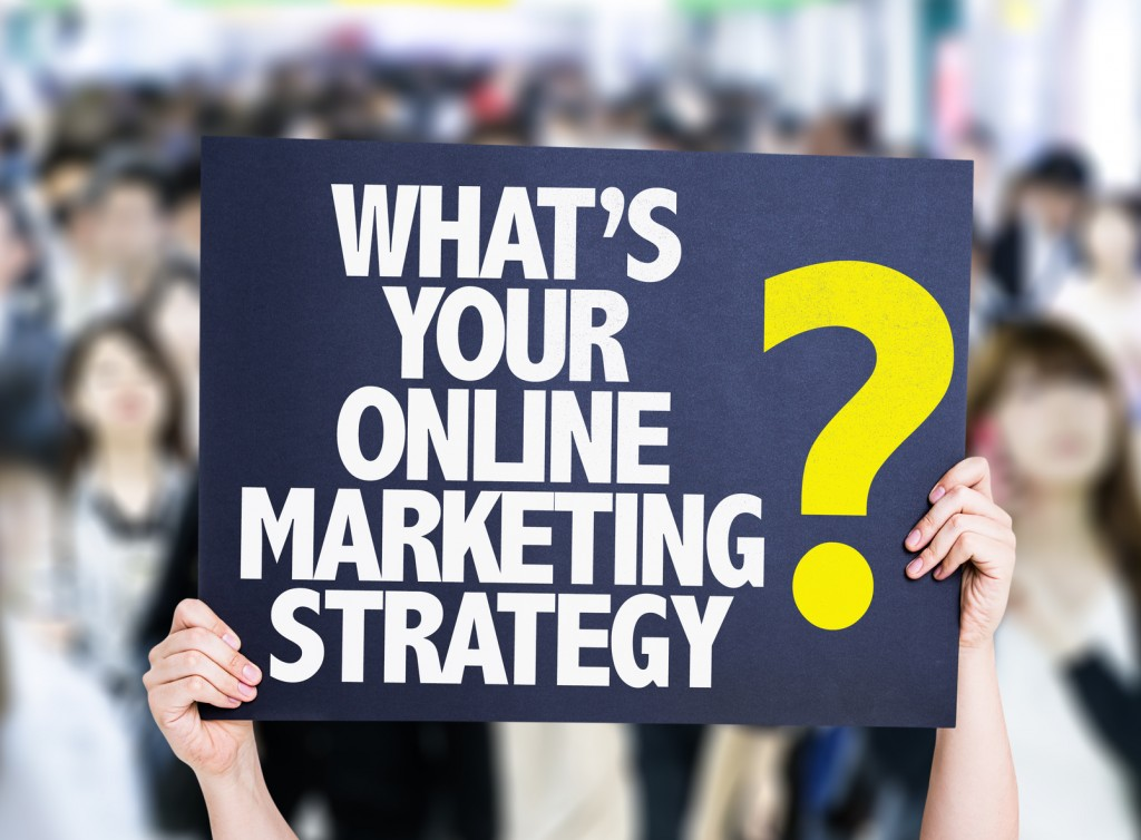 Whats Your Online Marketing Strategy? card with crowd of people